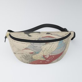 Japanese Meiji Period Print - Cherry Blossom Flurry Fanny Pack