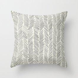 Herringbone Black on Cream Throw Pillow