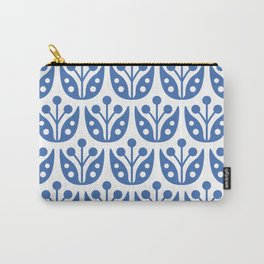 Mid Century Flower Pattern Blue Carry-All Pouch