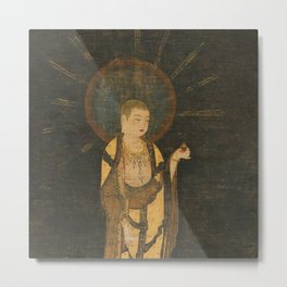 Welcoming Descent of Jizo 13th Century Japanese Scroll Metal Print