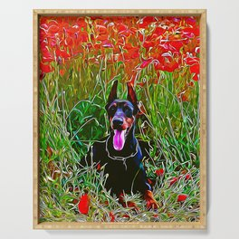 doberman dog red flowers meadow vector art Serving Tray