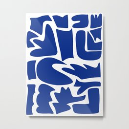 Blue shapes on white background Metal Print