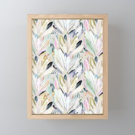 Pastel Shimmer Feather Leaves on Gray Framed Mini Art Print