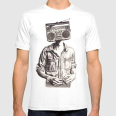 Radio-Head White Mens Fitted Tee MEDIUM