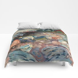 Shore with Red House by Edvard Munch Comforters