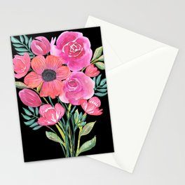 Pink Bouquet on Black Stationery Cards