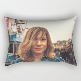 Lovely young woman in a Luna Park shortly before sunset in autumn Rectangular Pillow