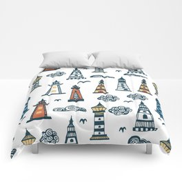 Cool Lighthouse Pattern with Birds and Clouds Comforters