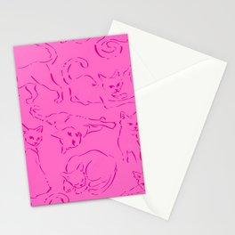 Cat Crazy pink line Stationery Cards