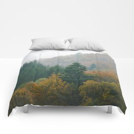 Foggy autumn forest layers disappearing in fog Comforters