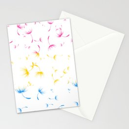 Dandelion Seeds Pansexual Pride (white background) Stationery Cards