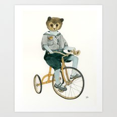 Bear on a Tricycle Art Print