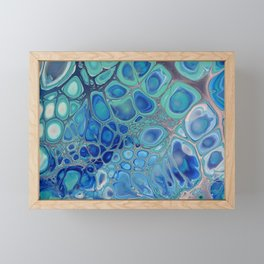 Azul - Blue Navy Turquoise Modern Fluid Abstract Framed Mini Art Print