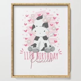 11th Birthday Princess Girl 11 Years Old Cow Lover B-Day print Serving Tray