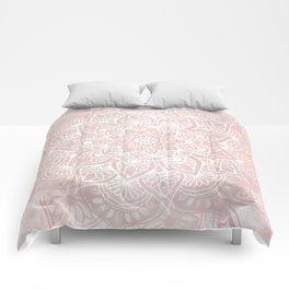 Mandala Yoga Love, Blush Pink Floral Comforters