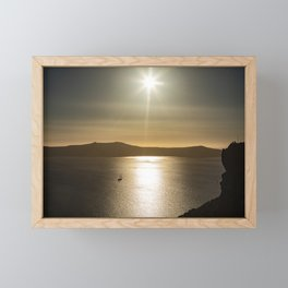 Sunset over Santorini Framed Mini Art Print
