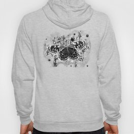 butterfly beautiful strong free splatter watercolor black negative Hoody