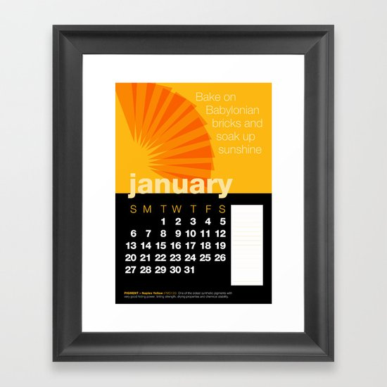 2013 Pigment to Pantone Calendar – JANUARY Framed Art Print