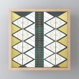 Modern Gold Aqua Geometric Pattern Framed Mini Art Print