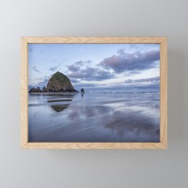 Haystack Rock at Low Tide in Early Morning Framed Mini Art Print