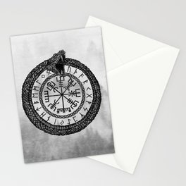Vegvisir with Ouroboros and runes - grayscale Stationery Cards