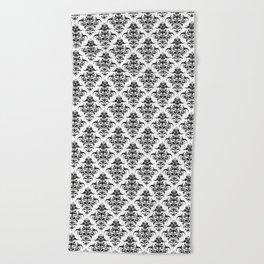 Damask Pattern   Black and White Beach Towel