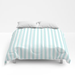 Duck Egg Pale Aqua Blue and White Wide Thin Vertical Deck Chair Stripe Comforters