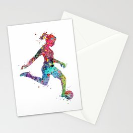 Girl Soccer Player Watercolor Print Sports Print Soccer Player Poster Stationery Cards