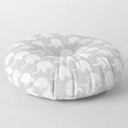 Elephant Parade on Grey Floor Pillow