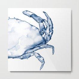Coastal Crab in Watercolor, Navy Blue (Right Half in Set) Metal Print