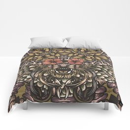 Tiger and flowers Comforters