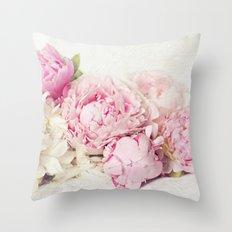Peonies on white Throw Pillow
