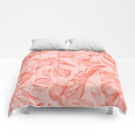 Tropical Dream Palm Leaves Deep Pink Comforters