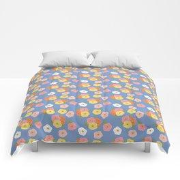 Doodle Florals on a Blue Background Comforters