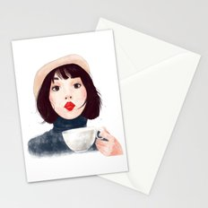 French woman with coffee Stationery Cards