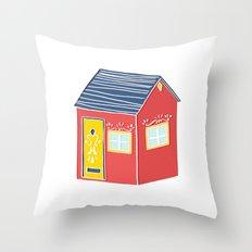 Little Red Scandinavian House Throw Pillow