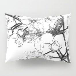 Cherry Blossoms Minimal Drawing Pillow Sham