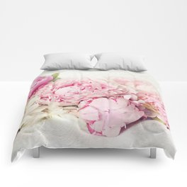 Peonies on white Comforters
