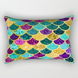 Glitter Purple, Aqua and Gold Mermaid Scales Pattern Rectangular Pillow