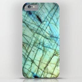 Teal Labradorite Gemstone print iPhone Case