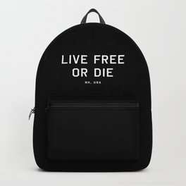 Live Free or Die - NH, USA (Black Motto) Backpack