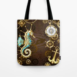 Wooden Background with Mechanical Seahorse ( Steampunk ) Tote Bag