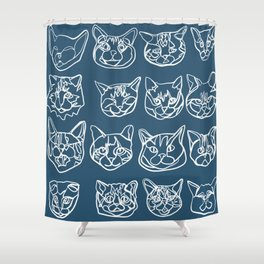 Blue and White Silly Kitty Faces Shower Curtain