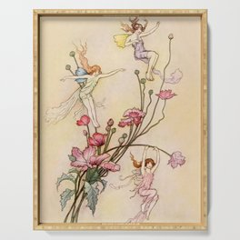 """""""Three Spirits Mad With Joy"""" Art by Warwick Goble Serving Tray"""