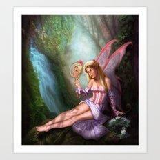 Pink Fairy Primping Art Print