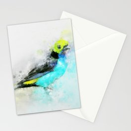 Waterolour blue bird painting illustration blue navy yellow artsy animal nature Stationery Cards