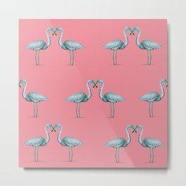 flamingo heart pattern Metal Print