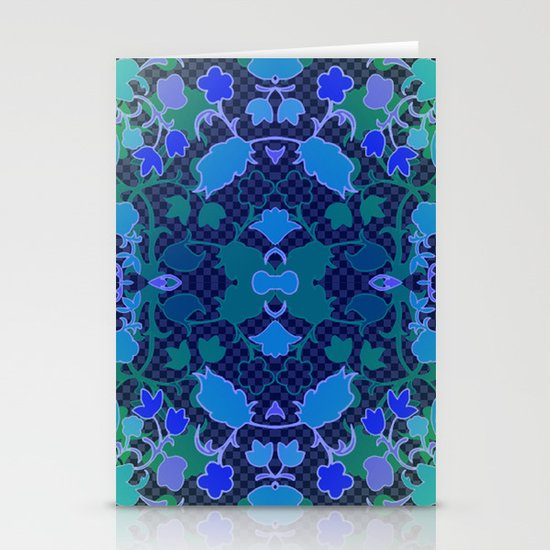 Lila's Flowers Repeat Blue Stationery Cards