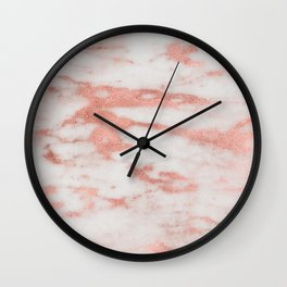 Dolcedo rose gold marble - strawberry tones Wall Clock