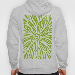 Chartreuse Flower Linocut Textile Hoody